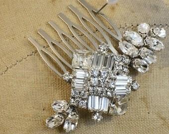 Bridal Hair Comb, Crystal Settings, Rhinestones