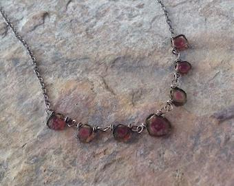 Watermelon TOURMALINE slice necklace, sterling silver, gemstone necklace, handmade artisan jewelry, Angry Hair Jewelry