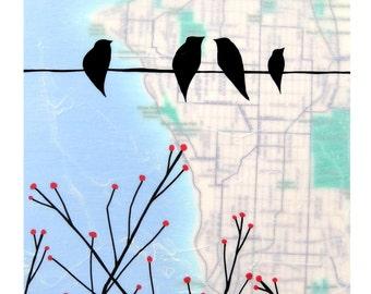 West Seattle Map Print // Washington Art // NW Art // Travel Art // Modern Decor // Bird Art // Map Art // Rachel Austin Art 11x14