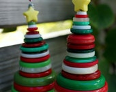 8 Christmas Ornaments Handmade Button Trees Red White Green Ornaments Accents Art Desk Accessory Home Decor Wedding Decoration Wedding Decor