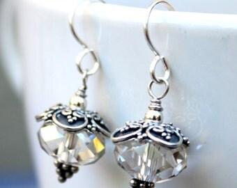 Sterling Silver Earrings, Dangle Earrings, Clear Earrings, Bridal Earrings, Swarovski Earrings