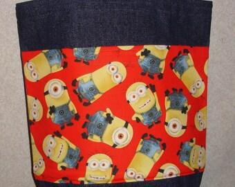 New Medium Denim Tote Bag Handmade with Minions Red Background Fabric