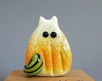 Pumpkin Cat Bead Handmade Lampwork - Rogelio FatCat