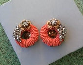 Vintage 1950s Earrings Jonne Schrager Coral Bead Clip On 20160205J191