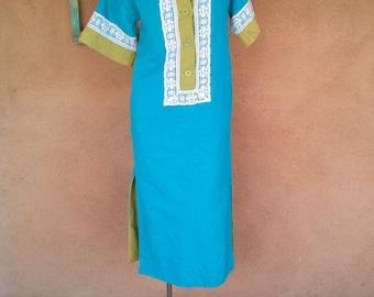 Vintage 1960s Dress Linen Silk 60s Maxi Joseph Magnin Small US 2 4 B33 2016284