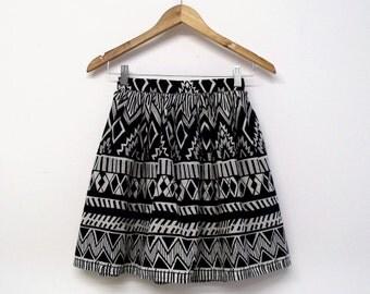Aztec print skirt skater skirt clothing mini graphic print triangle black and white cotton gathered full skirt a line short skirt monochrome