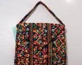 Vintage Black VELVET RAINBOW Embroidery Magic Bag Purse