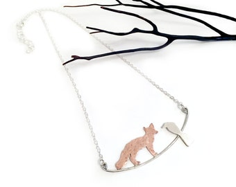 The Fox and the Crow Sterling silver necklace - Aesop's Fables
