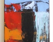 Mixed media on canvas, acrylic painting, abstract landscape, bird on a cliff