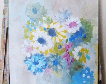 Original painting, Flowers, still life, stretched canvas, acrylics