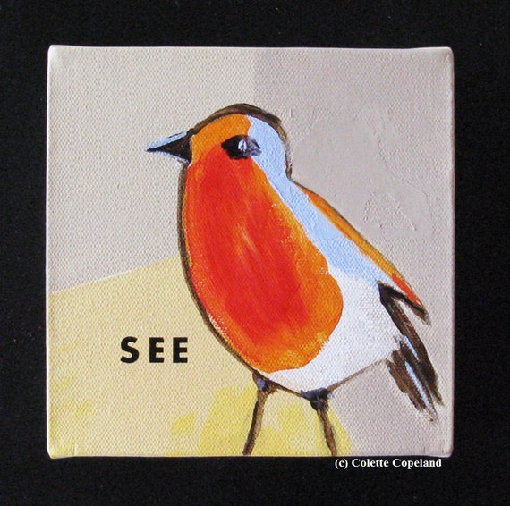 Acrylic painting on wrapped canvas, Robin, boxy canvas, taupe yellow, red orange, blue