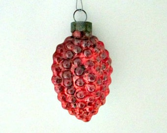 Vintage  Glass Christmas Tree Ornament  - Bumby Deep Red Mid Century Ornament