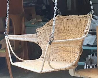 Mid Century Wicker Chair Swing