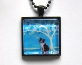 Border Collie spiritual tree of life painting Art Glass Tile Pendant Necklace