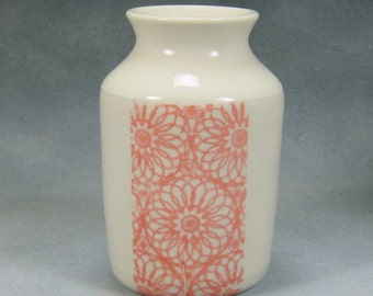 Porcelain Bud Vase Hand Thrown Ceramic Bud Vase With Pink/Red and White design 11