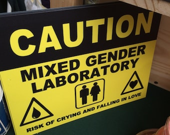 Mixed Gender Laboratory Caution Signs