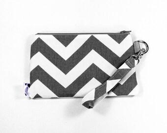 Wristlet Bag / Wrist Purse / Wristlet Clutch  - Gray Chevron