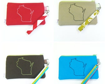 Wristlet Purse / Wristlet Clutch / Cell Phone Wristlet -  Heart YOUR STATE - Customized purse
