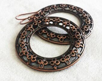 Bohemian Earrings, Antique Copper Filigree Chandelier earrings, Large boho earrings, Bohemian jewelry, gypsy earrings, gypsy jewelry