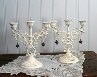 pair Mini CANDELABRA - Chippy White Cottage Decor - filigree and beaded