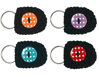 Keychain Coin Holders, set of 4, keychain coin purses, small coin purses, cute keychains, black keychains, coin keychains, small gifts