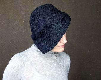 Black wool hat Unique black cloche Warm winter cap Brimmed cloche Handmade hat Sewn fabric hat Modern Millinery Elegant hat : Acappella