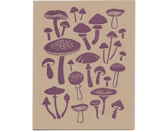 Mushroom letterpress greeting card, blank inside, Maine made, nature, fungi, fungus, hand-printed, made in USA, woodland, purple, recycled