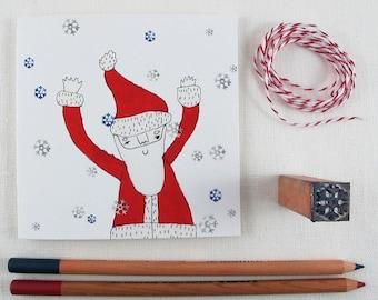 Christmas Card: Santa with Snowflakes
