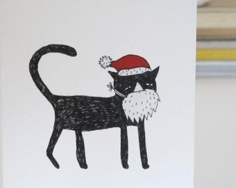 Christmas Card: Cat with Beard