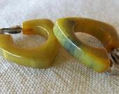 Vintage Swirled Bakelite Triangle Hoop Earrings clip on blue yellow green bakelite hoops bakelite jewelry bakelite accessory clip on