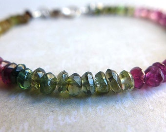 Watermelon Tourmaline Gemstone Bracelet, Ombre Gemstone Layering Bracelet, Pink Green Tourmaline Bracelet, Thin Multicolor Gemstone Bracelet