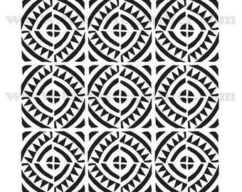 """Aztec Tiles 6x6"""" Stencil"""