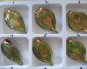 US Shipper - Gold Sand Lampwork Pendants - Leaf Shape and Folded
