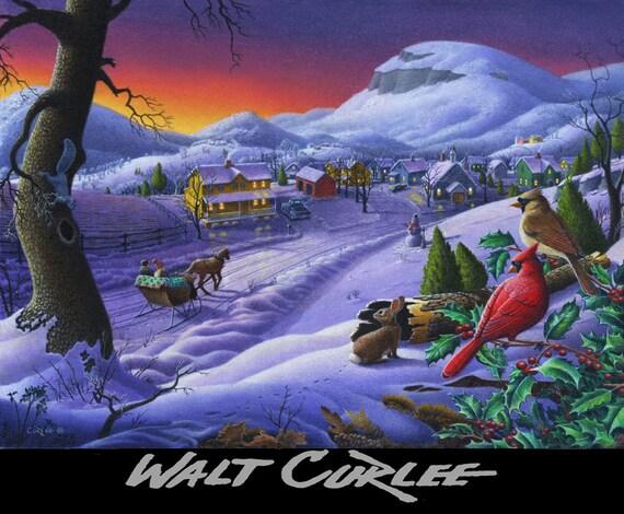Original Christmas Winter Farm Country Landscape oil painting, Cardinal's Small Town Sleigh Ride, Americana, Folk Art, Wildlife, Snow