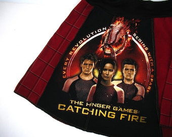 Hunger Games - Upcycled Tee Skirt Womens Med skirt - Catching Fire Cast Faces Katniss black red maroon upcycled clothing OOAK unique