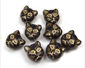 13mm Czech Glass Beads Cat Faces Beads Jet Black and Gold Inlay 6pcs