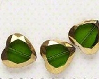 Exquisite Designer Crystal Faceted Heart Glass Window Beads Transparent Green 22x21mm 3 pcs