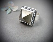 pyrite pyramid cocktail ring
