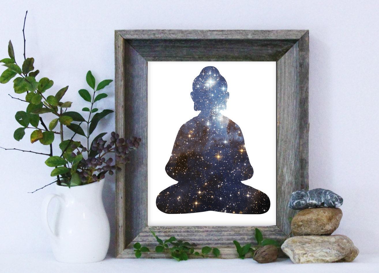 buddha print buddha wall art buddhism art galaxy print. Black Bedroom Furniture Sets. Home Design Ideas