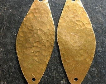 Hammered Antiqued Brass Leaf Charms - 1 pair - Double Hole