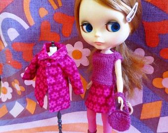 Blythe Set 4 Piece Set: Coat, Skirt, Sweater, Bag