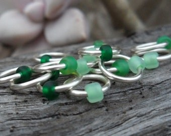 Choose Size Dangle Free Knitting Stitch Markers Silver Anti Tarnish Wire Matte Seed Beads Shades of Green Set of 15 Snag Free