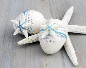 Decoupaged Papier Mache Eggs, Coastal Home Decor, Tropical Beach House Decor, Literary Gift From The Sea, Starfish Decor