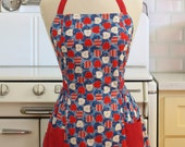 Apron Retro Style Red White Blue Apples Vintage Inspired Full Apron - CLASSIC