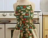 Vintage Inspired Christmas Presents on Green Full Apron for Little Girls