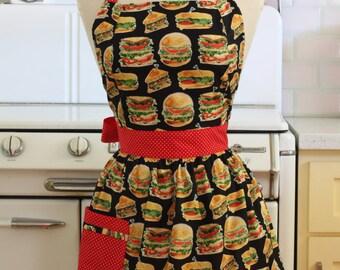 Retro Apron Burgers and Sandwiches on Black - CHLOE
