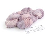 4ply silk seacell yarn, handdyed variegated skein, luxury fingering knitting crochet yarn, Perran Yarns Buddleia rose pink, lilac purple