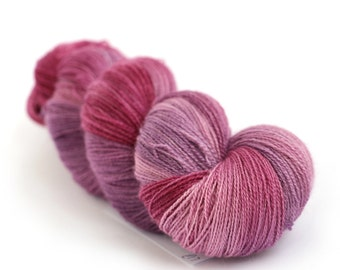 Purple laceweight wool, handdyed BFL silk laceweight yarn, hand dyed Perran Yarns Blackcurrant Sorbet, bluefaced leicester variegated skein