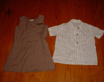 Vintage Brownie Girl Scout romper jumper and shirt