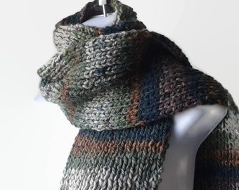 Knit Scarf Green Brown Ombre Stripe Scarf Woodsy Vegan Knit Men Women Unisex FELIX Ready to Ship - Autumn, Winter Fashion